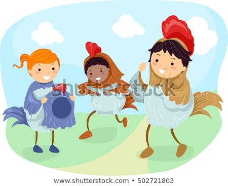 Stickman Kids Dress Chicken Stock photo © lenm