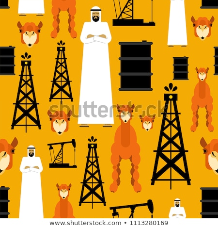 Desert camels and oil pumps seamless pattern. Vector background  Stock photo © popaukropa