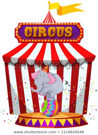 Elephant performing infront of a circus tent Stock photo © bluering