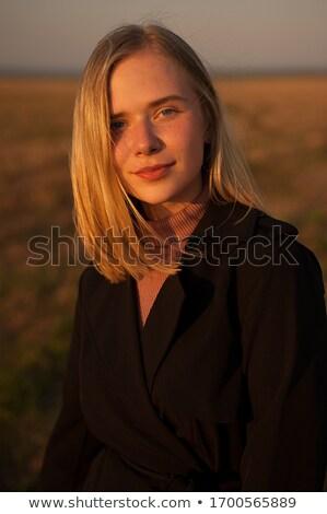 Közelkép portré szőke hölgy szépség szeplők Stock fotó © konradbak