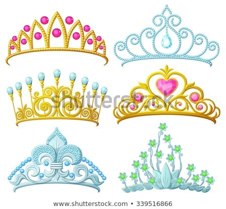coroa · tiara · prata · ilustração · vetor - foto stock © yo-yo-