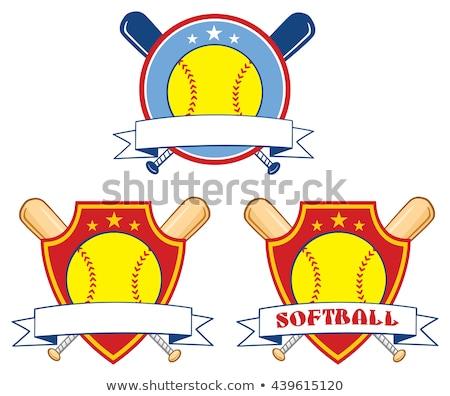 yellow softball over crossed bats logo design label stock photo © hittoon