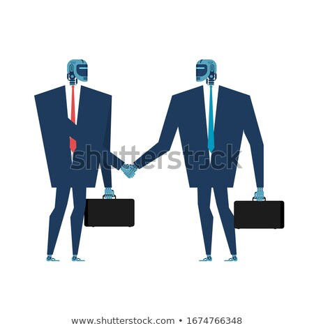 Cyborg handshake. Robot businessman talks. Artificial Intelligen Stock photo © MaryValery