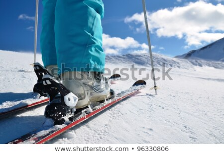 legs of woman with boots and skis Stock photo © adrenalina