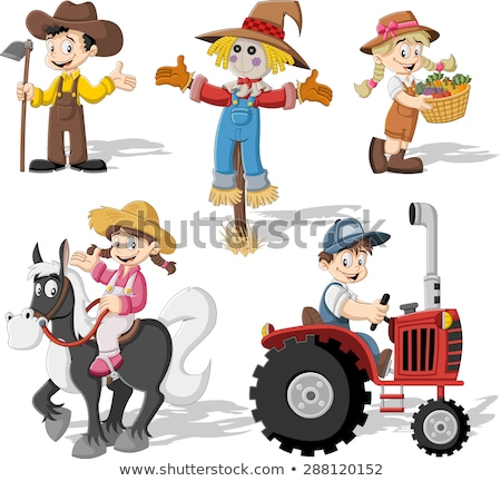 Karikatür çiftçi traktör kırmızı tarım makinalar Stok fotoğraf © Genestro