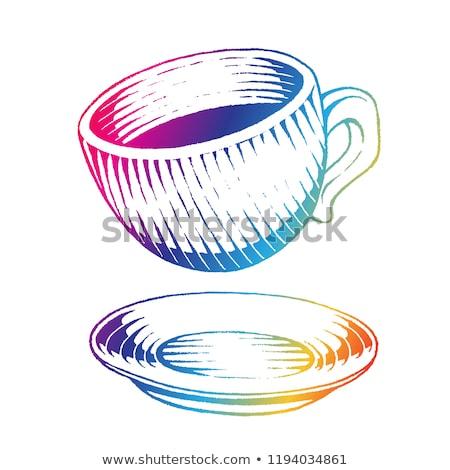 tazza · di · caffè · illustrazione · disegno · inchiostro · line - foto d'archivio © cidepix