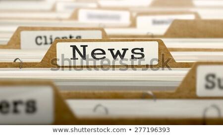 Kártya hírek 3D szó narancs mappa Stock fotó © tashatuvango