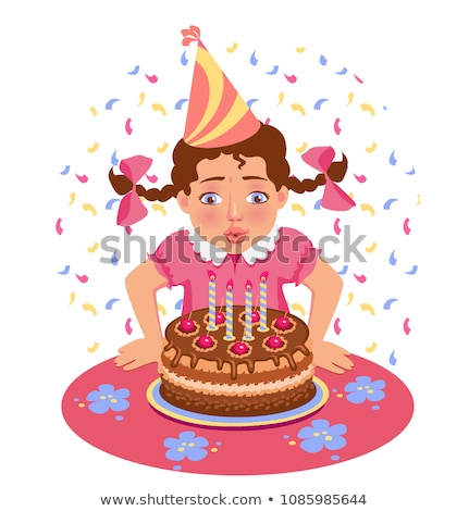 Kid Blowing Out Candles On Holiday Cake Vector. Isolated Illustration Stock photo © pikepicture