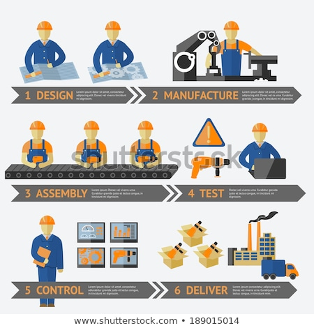 Production Line Workers Set Vector Illustration Stock photo © robuart