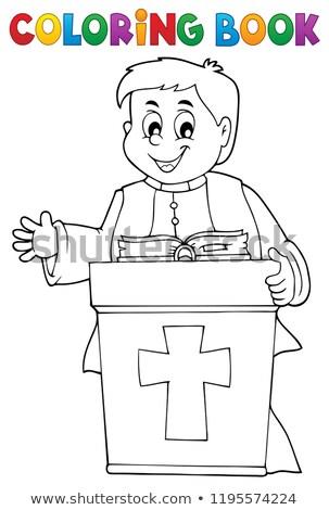 Kleurboek jonge priester onderwerp boek man Stockfoto © clairev