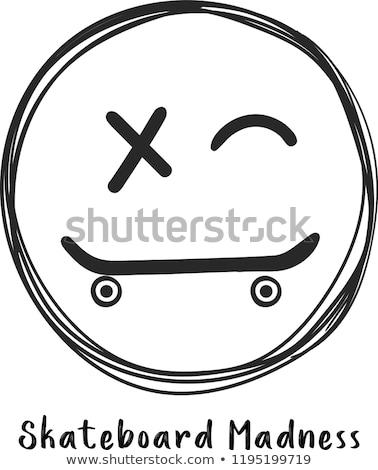 Skateboarding sonriendo nino anunciante marco texto Foto stock © robuart