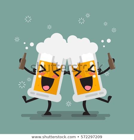 Stockfoto: Dronken · cartoon · bier · illustratie · glas · naar