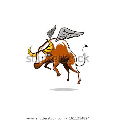 Cartoon buffalo wings boos illustratie jonge grafische Stockfoto © cthoman