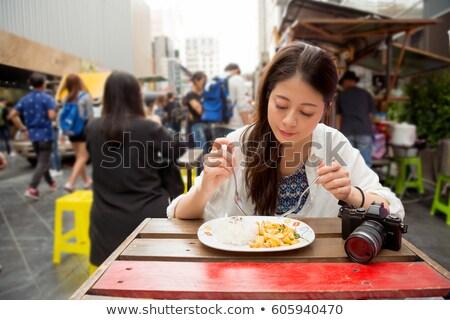 fagylalt · lány · izgatott · boldog · eszik · fagylalttölcsér - stock fotó © artfotodima