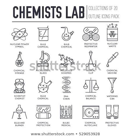 Biohazard chemists in chemistry lab thin line illustration concept set. Science people with equipmen stock photo © Linetale