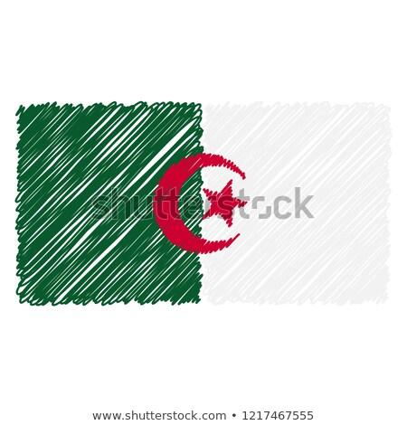 Dibujado a mano bandera Argelia aislado blanco vector Foto stock © garumna