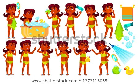 Indian Girl Kid Poses Set Vector. Hindu. Child Take A Shower. Cheer, Pretty, Youth. Undressed. Pool, Stock photo © pikepicture