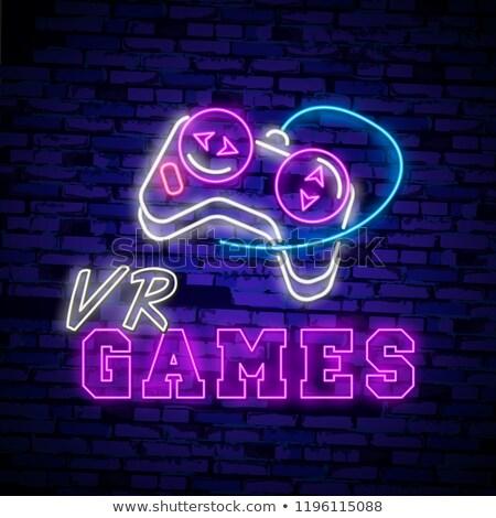 Virtuális valóság szöveg poszter interaktív férfi Stock fotó © robuart