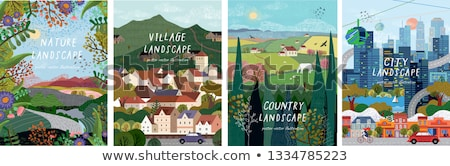 Farm House Nature Landscape Vector Illustration Stock photo © robuart