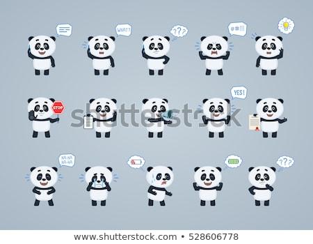 Ayarlamak panda karakter örnek dizayn yaprak Stok fotoğraf © colematt
