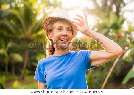 Stock fotó: Portré · idősebb · nő · kívül · ház · meleg