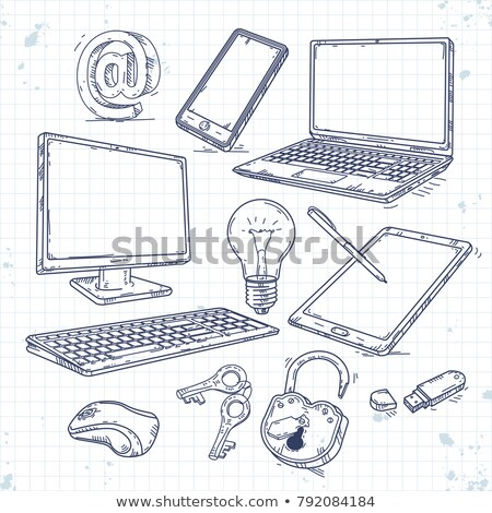 ordenador · pantalla · dibujado · a · mano · garabato · icono - foto stock © rastudio