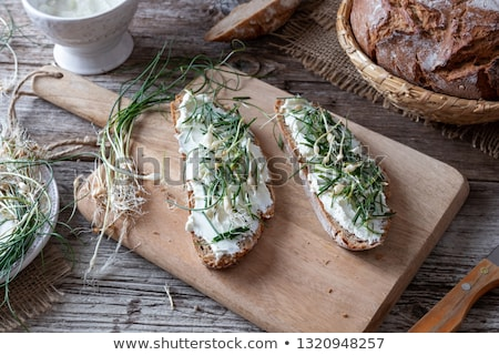 ekmek · süzme · peynir · karga · sarımsak · tablo - stok fotoğraf © madeleine_steinbach