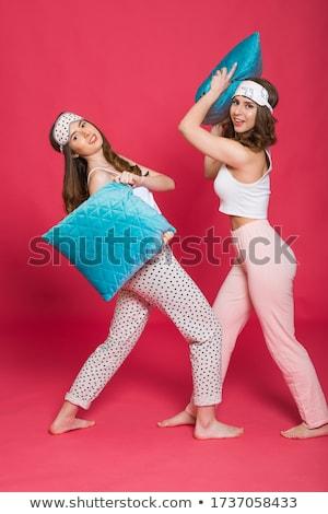 deux · oreillers · rose · bleu · isolé · blanche - photo stock © deandrobot