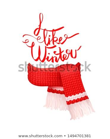 kırmızı · örgü · eşarp · beyaz · yün · ikon - stok fotoğraf © robuart