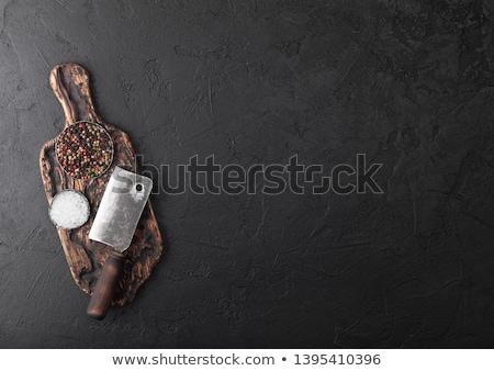 klasszikus · hús · kés · villa · kő · vágódeszka - stock fotó © DenisMArt