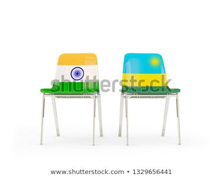 два стульев флагами Индия Руанда изолированный Сток-фото © MikhailMishchenko
