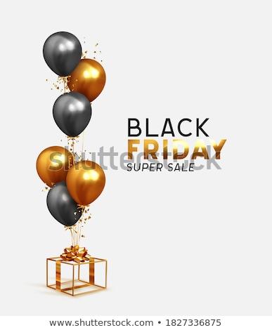 Vásár black friday ajándék doboz hélium léggömbök pontozott Stock fotó © robuart