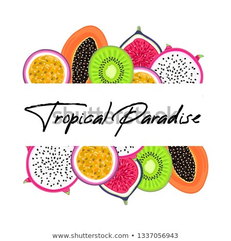 Vector frame with tropical fruits. Pitahaya or pitaya , kiwi, passion fruit, fig, papaya. Creative a Stock photo © user_10144511