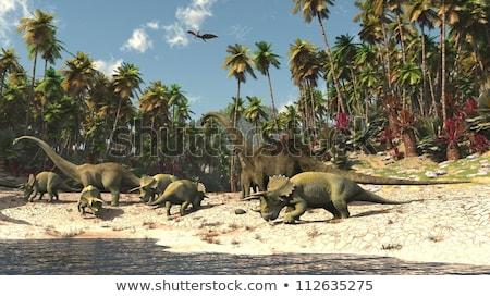 Dinossauros água cena ilustração paisagem arte Foto stock © colematt