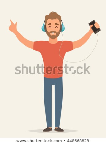 Foto stock: Listening To Music - Flat Design Style Colorful Illustration