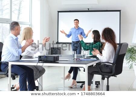 ビジネスマン · プレゼンテーション · 小さな · 背景 · スピーカー · 会議 - ストックフォト © andreypopov