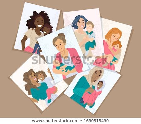 Matki dzień banner różnorodny mama dziecko Zdjęcia stock © cienpies