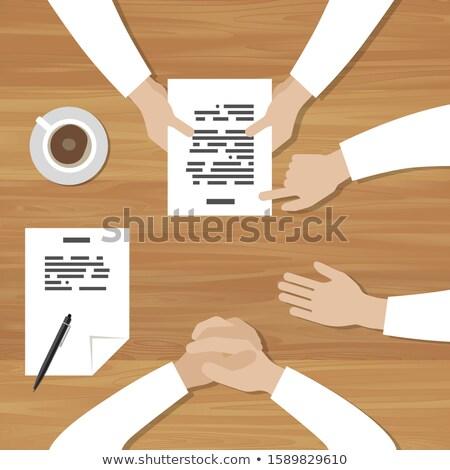 Banner mesa ilustración mesa de madera manos superior Foto stock © biv