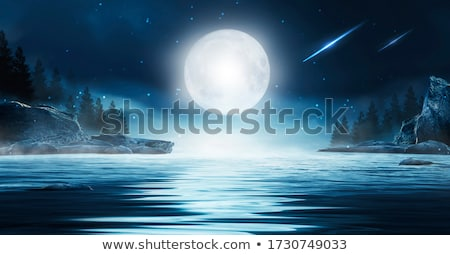 Cartoon · ночь · пейзаж · горные · луна · иллюстрация - Сток-фото © bluering