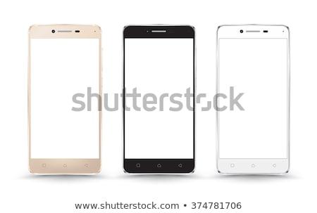 Arany okostelefon vektor vázlat izolált fehér Stock fotó © tashatuvango