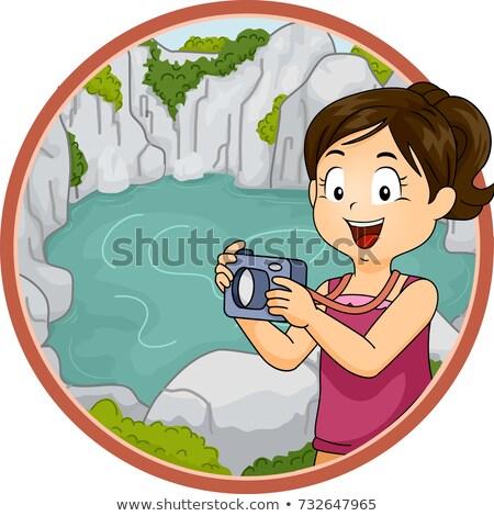 Gyerek lány felfedez illusztráció tart kamera Stock fotó © lenm
