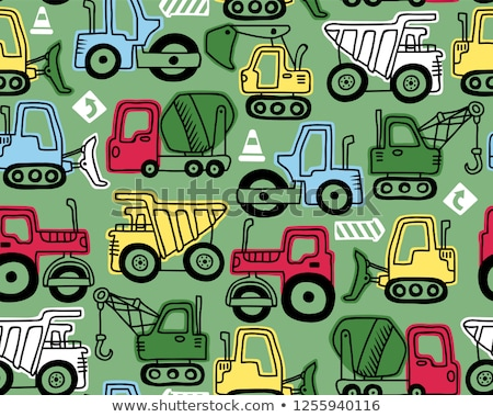 colored construction machinery pattern stock photo © netkov1