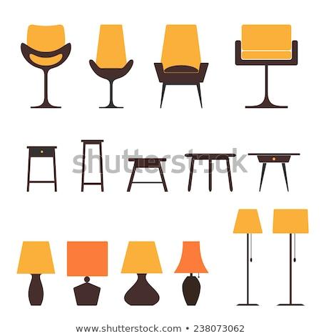 Digitális vektor citromsárga bútor ikonok rajzolt Stock fotó © frimufilms