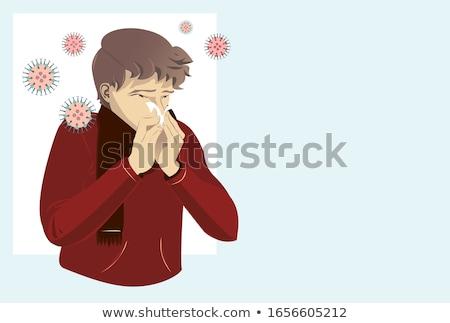 Teen Boy Symptom Sneezing Illustration Stock photo © lenm