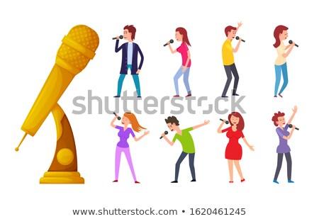insanlar · şarkı · söyleme · karaoke · grup · insanlar · birlikte · kız - stok fotoğraf © robuart