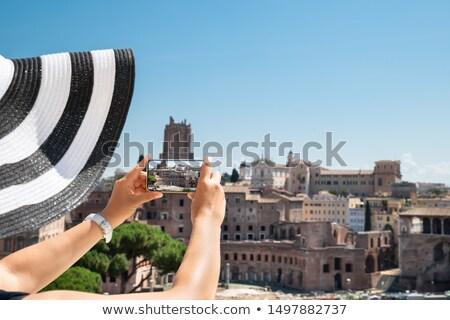 Woman Taking Photo Of Roman Forum Stock photo © AndreyPopov