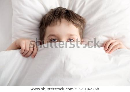 fiú · rejtőzködik · ágy · fehér · pléd · kettő - stock fotó © lopolo