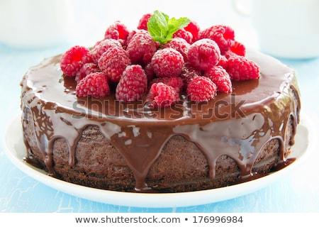 Cheesecake frutti di bosco cioccolato tazza di caffè tavolo in legno copia spazio Foto d'archivio © karandaev