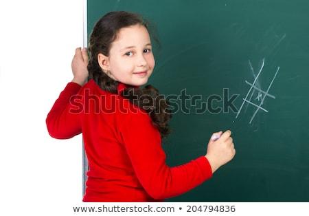 terug · naar · school · gelukkig · glimlachend · leren · meisje · klein - stockfoto © robuart