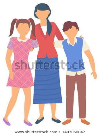 Classmates Hugging Teacher, Back to School Vector Stock photo © robuart